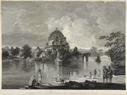 'A view of the Tomb of the Emperor Shere Shah at Sasseram in Bahar'. Etching by Morris after a painting by William Hodges